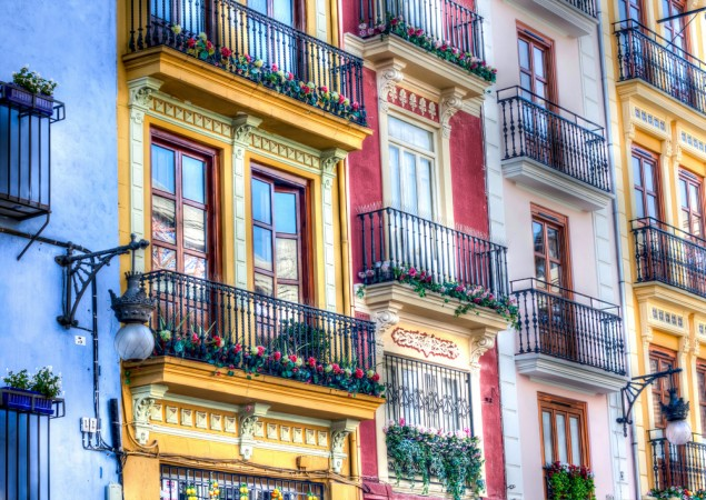 Colorful houses of Valencia, Spain
