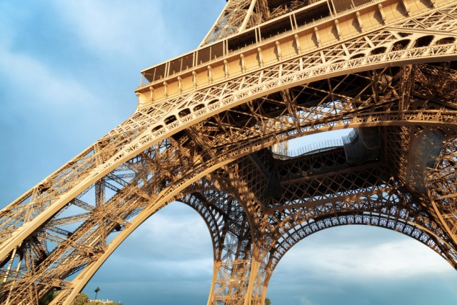 The Eiffel Tower seen from below