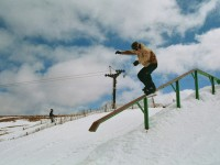 Snowboarding man in the snow