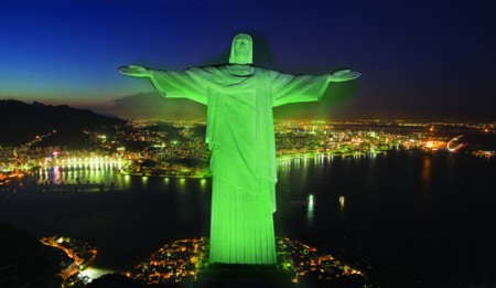 Christ the Redeemer in green