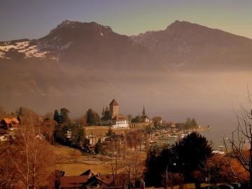 View over Lake Thun in Switzerland