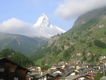 View over Zermatt and the Matterhorn Peak