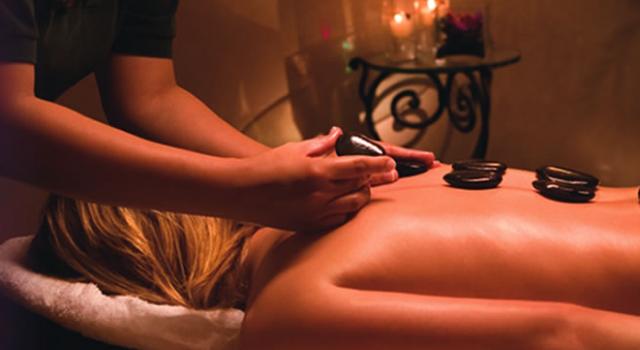 Hot stone massage at Excalibur Spa