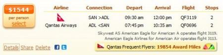 Australia flight from San Diego to Adelaide