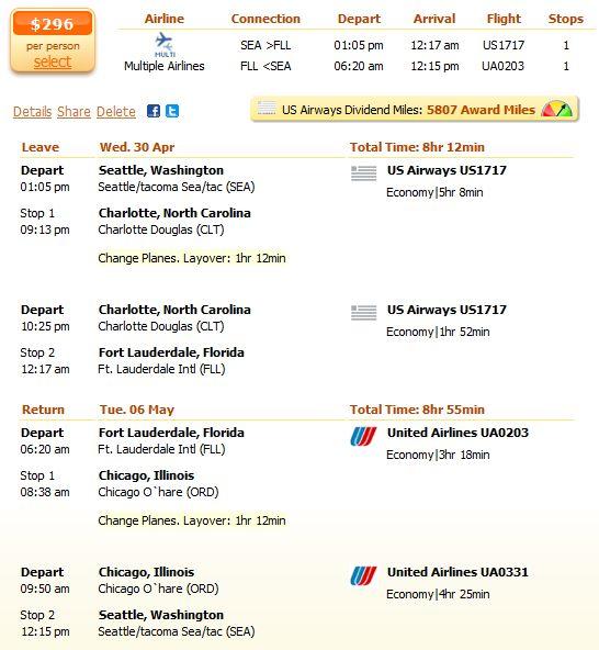Coast to coast flight under $300 details