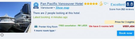 Pan Pacific Hotel in vancouver for $475 details