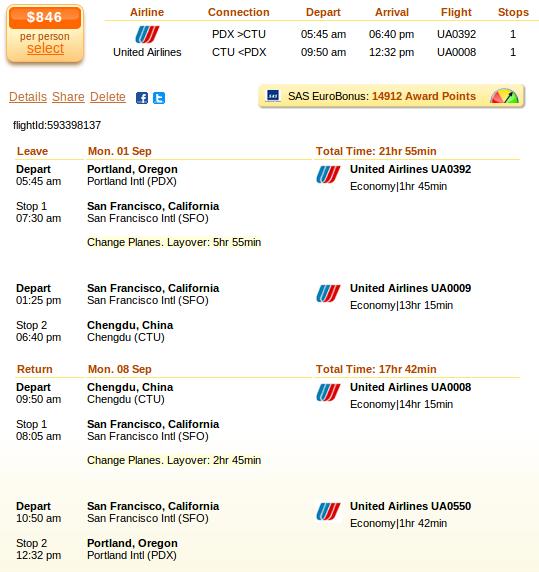 Portland to Chengdu flight