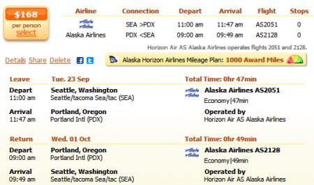 Seattle to Portland flight details