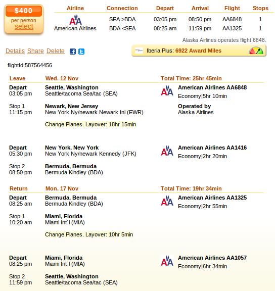 Seattle to Bermuda airfare details