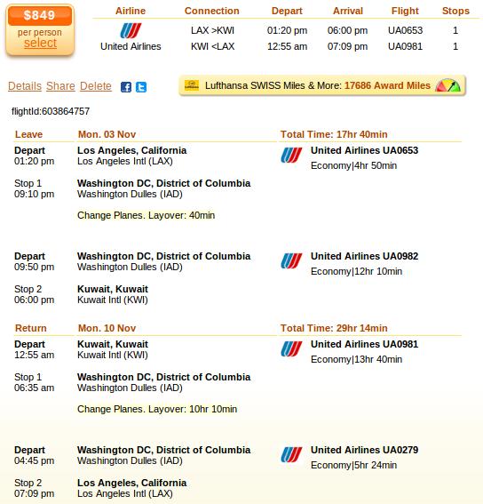 Los Angeles to Kiwait airfare