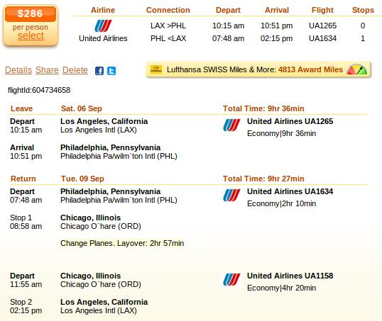 Los Angeles to Philadelphia flight details
