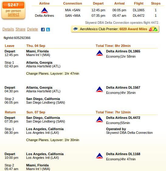 Miami to San diego airfare details