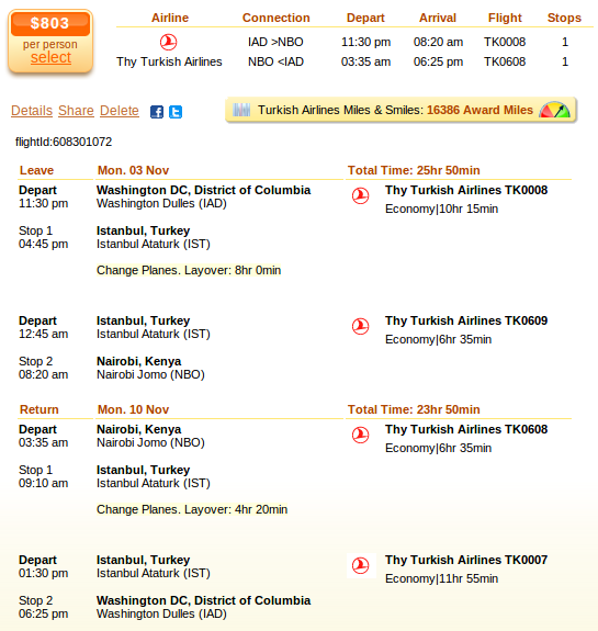 Washington to Nairobi airfare details