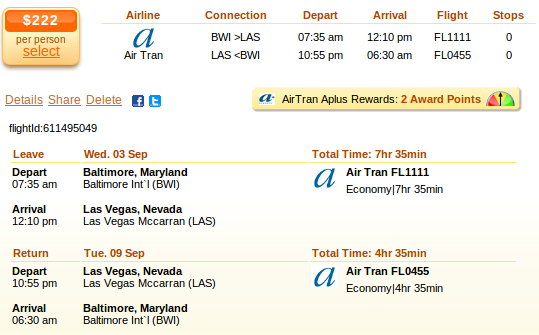 Baltimore to las vegas cheap flights on low cost for Spirit airlines ticket prices