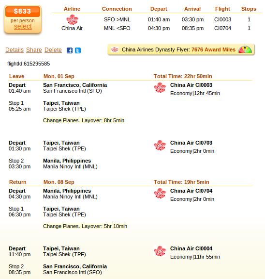 Flight details - San Francisco to Manila