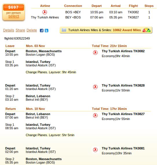 Flight deal details - Boston to Beirut