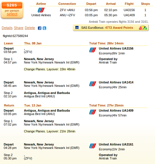 Newark to Antigua flight deal