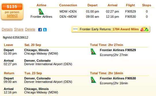 Chicago to Denver flight details