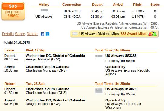 Washington to Charleston flights deal details
