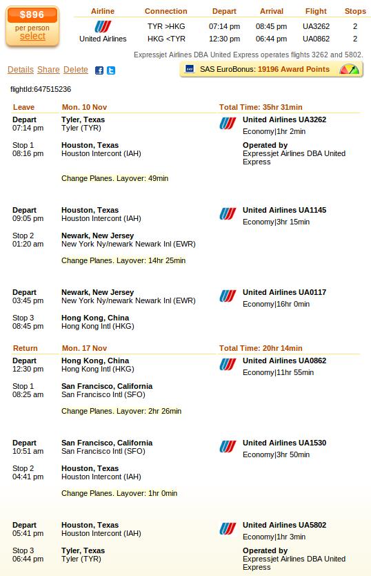 Airfare deal details - Dallas to Hong Kong