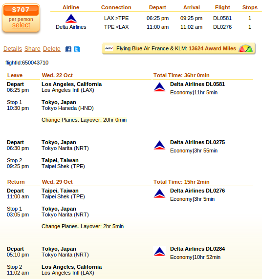 Los Angeles to Taipei flight deal screenshot