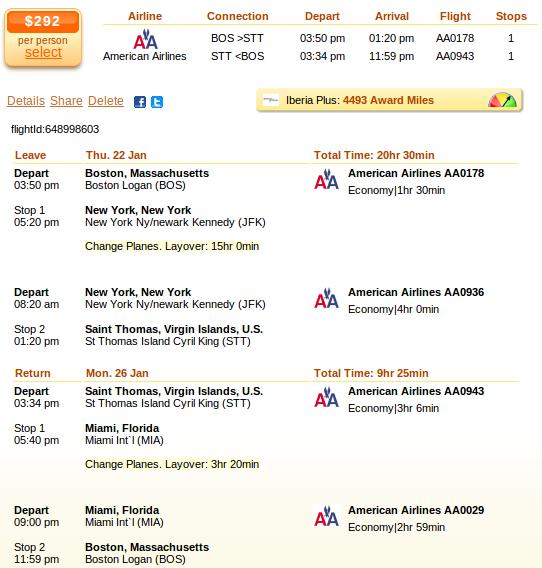 Airfare deal details - Boston to Saint Thomas