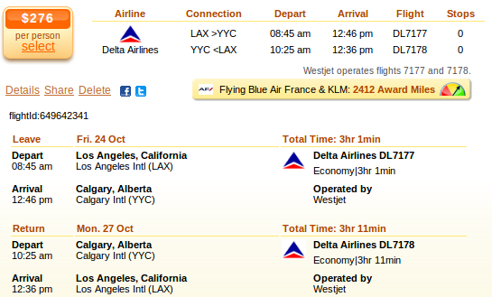 Los Angeles flight to Calgary - deal details