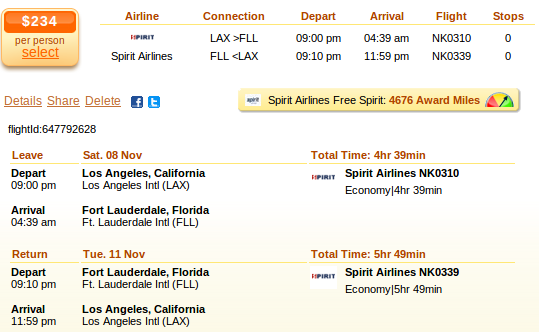Los Angeles to Fort Lauderdale flight deal details