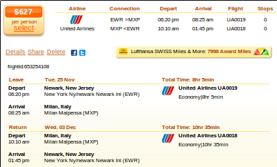 New York to Milan flight deal details