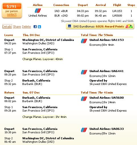Flight deal details - Washington to Burbank