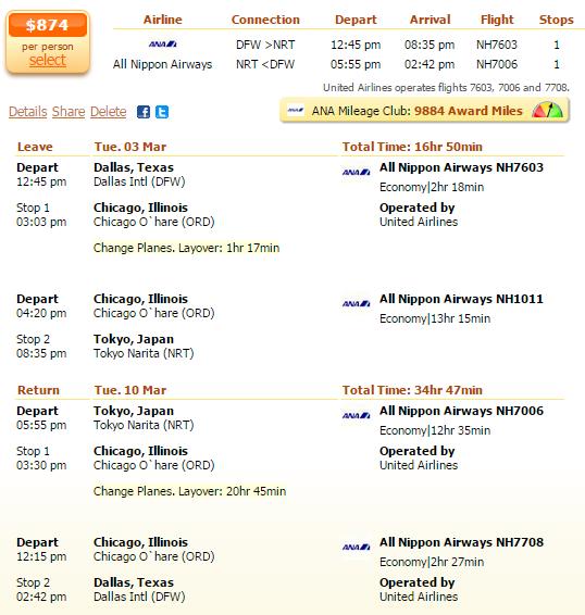 Airfare deal details - Dallas to Tokyo