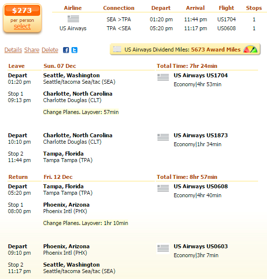 Flight deal screenshot - Seattle to Tampa