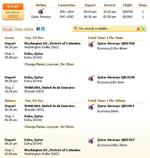 Washington to Abu Dhabi airfare deal