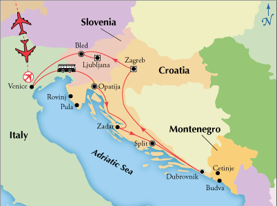 Vacation itinerary map