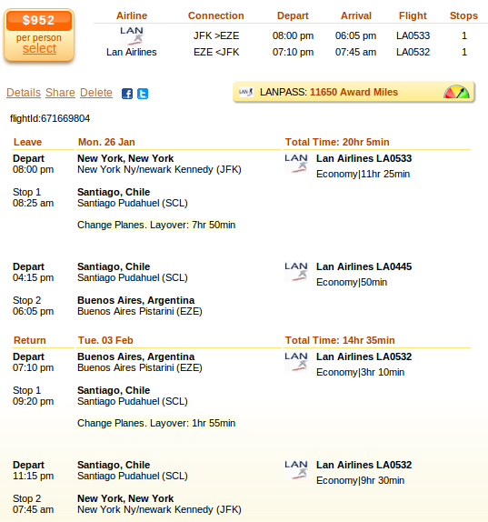New York to Buenos Aires flight deal screenshot