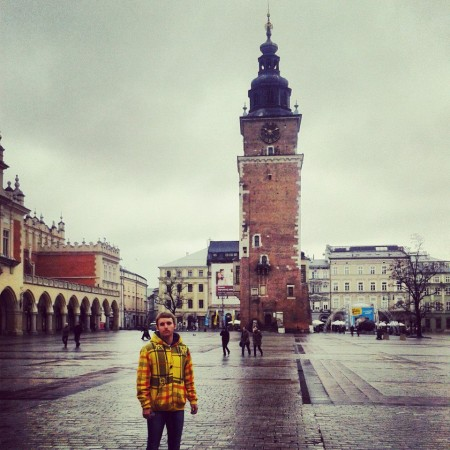 Me at the cities town square, Krakow, Poland