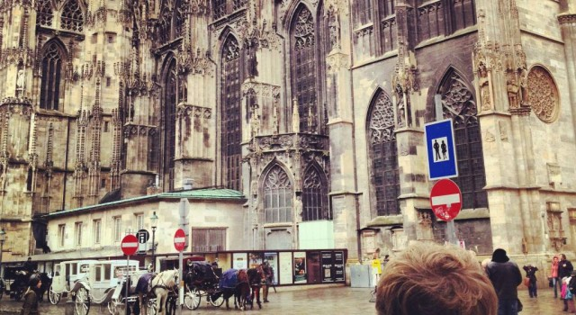 Me watching St Stephan's Cathedral at Stephansplatz,Vienna