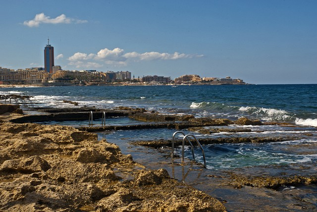 A typical example of a beach in Malta, Sliema Beach ©Berit Watkin/flickr