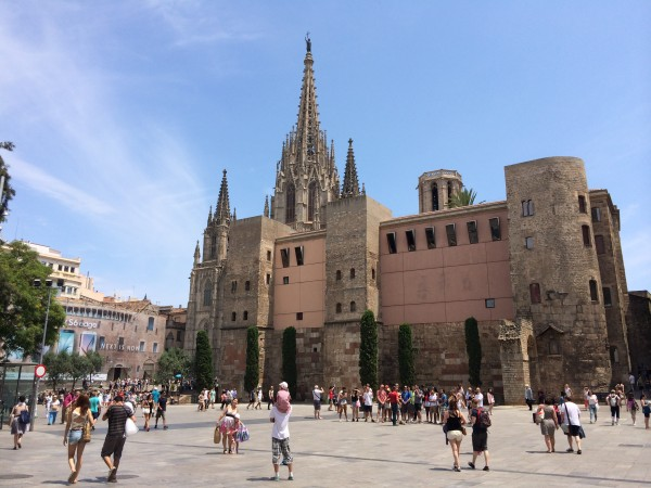 Roman Walls and behind it the Cathedral of Barcelona, examples of ancient architectural sites