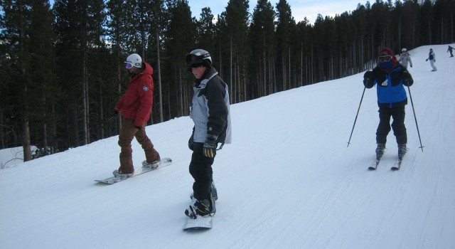 Snowboarders in Breckenridge