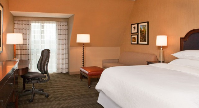 Guest room at Sheraton Burlington Hotel