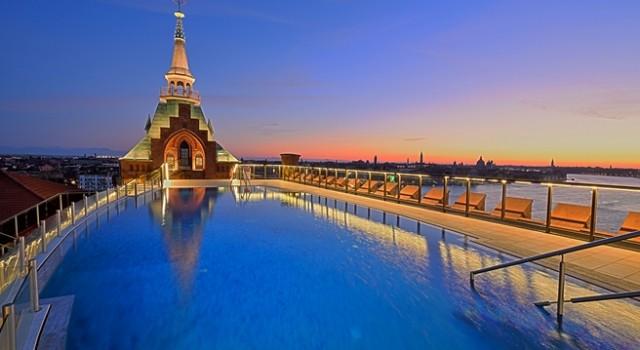 Rooftop pool at Hilton Molino Stucky Venice