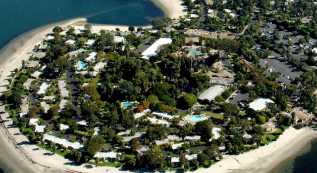 Aerial view of Paradise Point resort