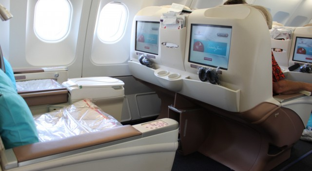 Business class seats on plane