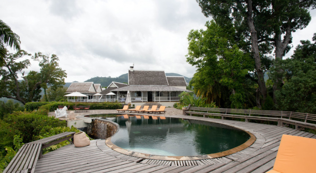 Strawberry Hill Jamaica - pool and garden view