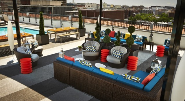 Rooftop pool and bar at The Embassy Row Hotel