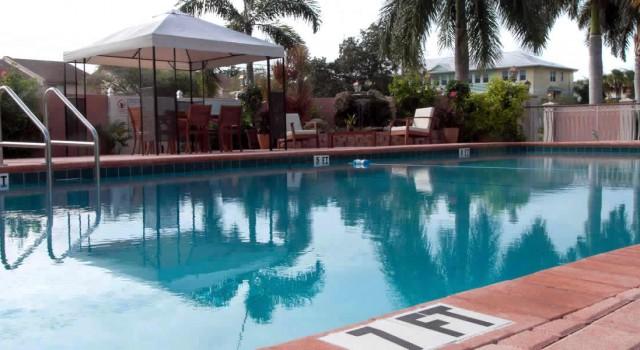 Pool view at Hibiscus Suites Inn in Sarasota