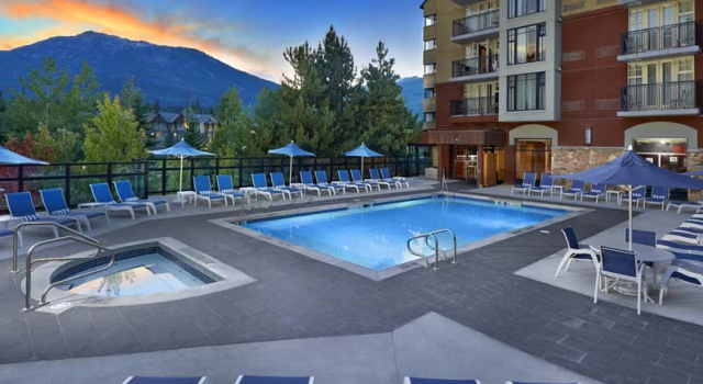 Pool and view at Hilton Whistler Resort and Spa