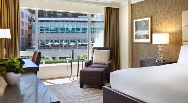 Guest room at Fairmont Waterfront