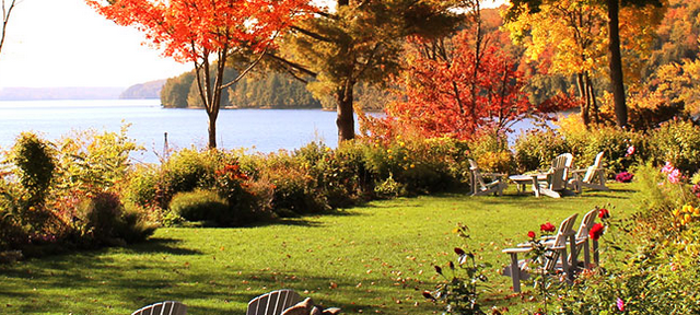 Garden view at Manoir Hovey